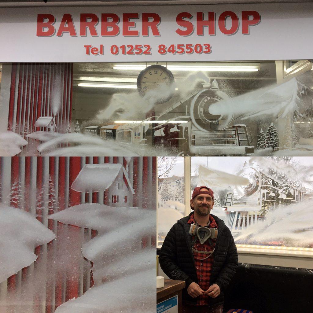 barbershop window snow art